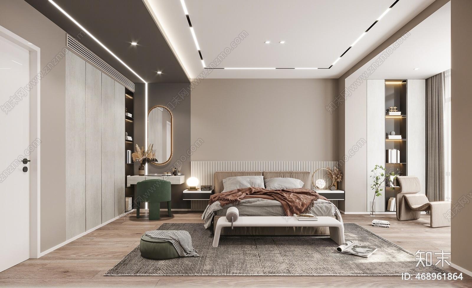 现代卧室3D模型下载【ID:468961864】