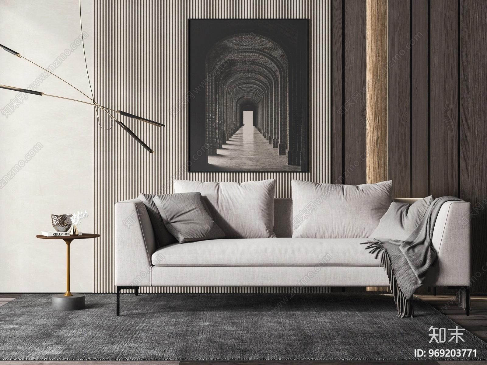 现代双人沙发3D模型下载【ID:969203771】