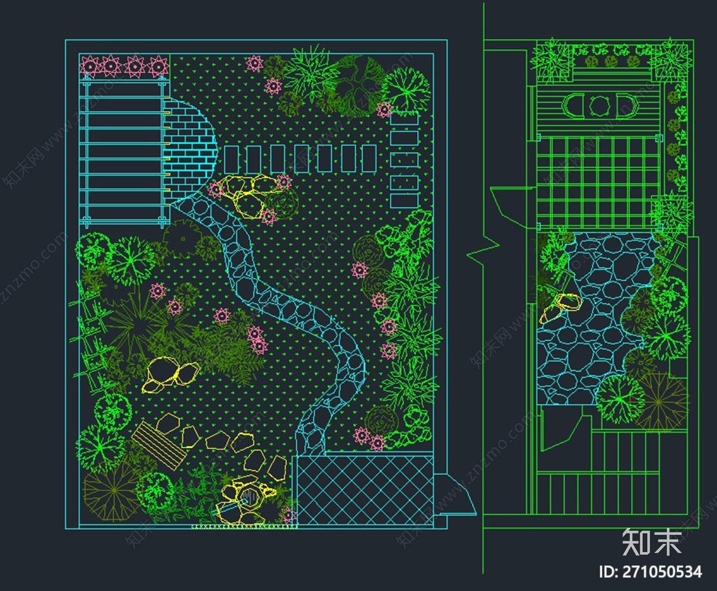 花园庭院景观绿化组图施工图下载【ID:271050534】