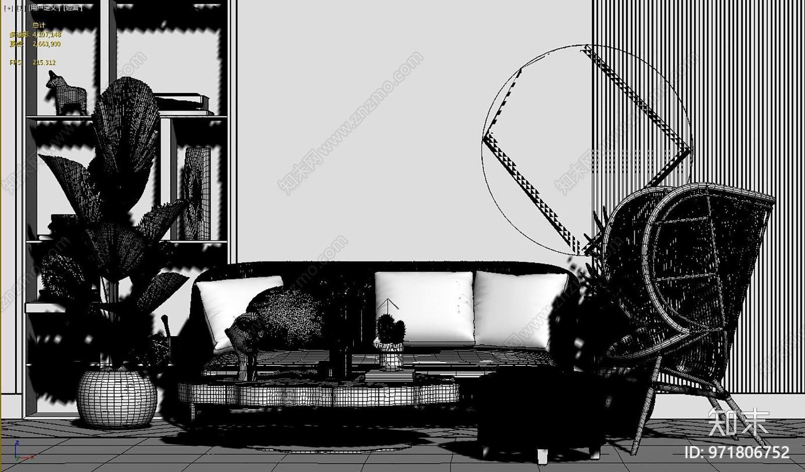 现代三人沙发组合3D模型下载【ID:971806752】