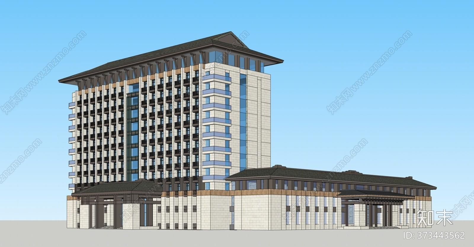 新中式酒店外观SU模型下载【ID:373443562】