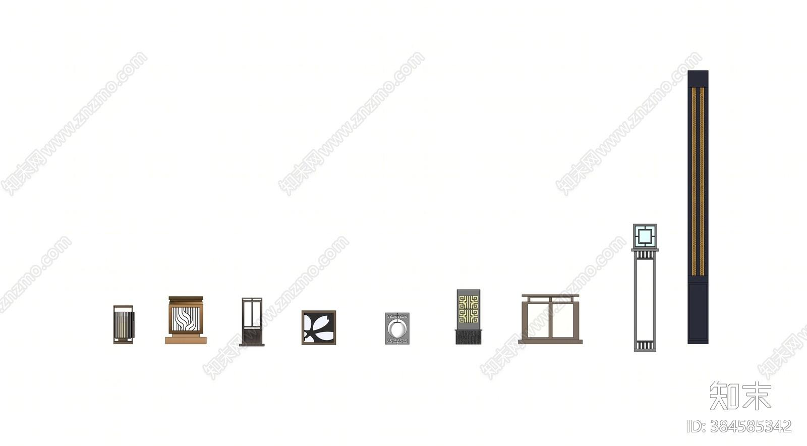 新中式景观灯具SU模型下载【ID:384585342】