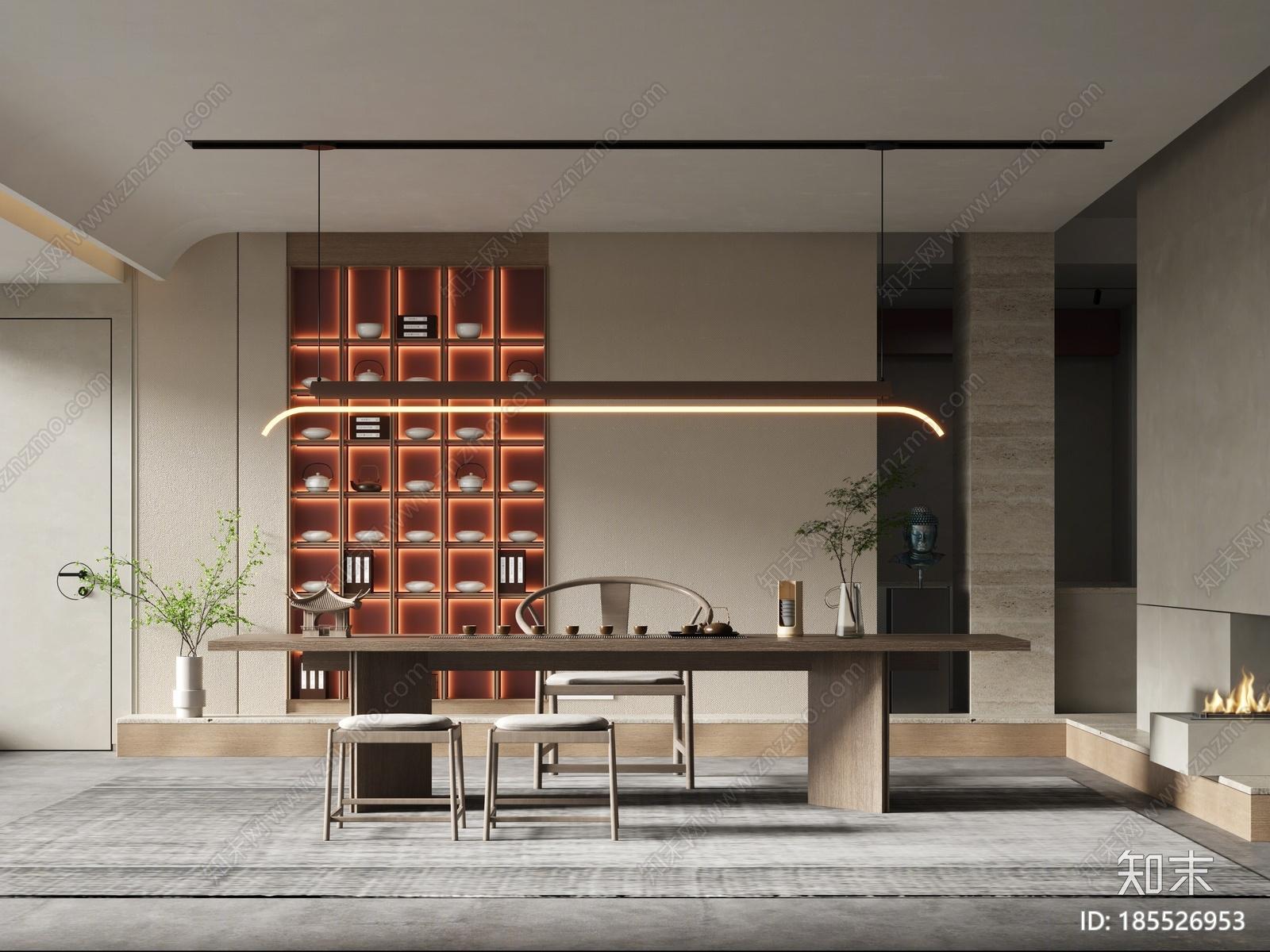 新中式茶室3D模型下载【ID:185526953】
