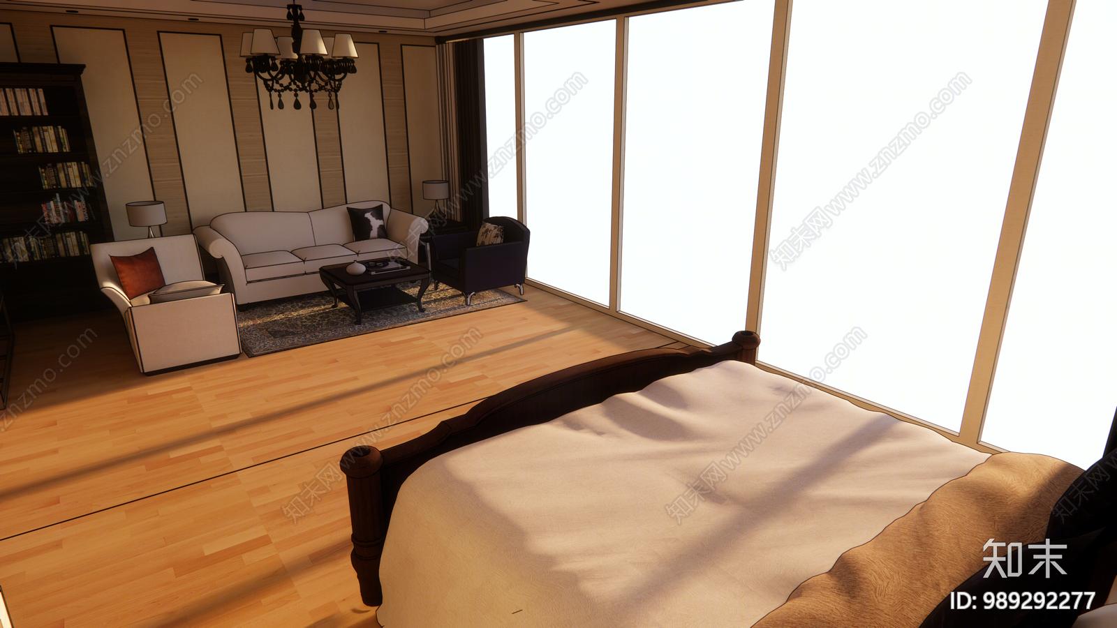 现代酒店客房SU模型下载【ID:989292277】