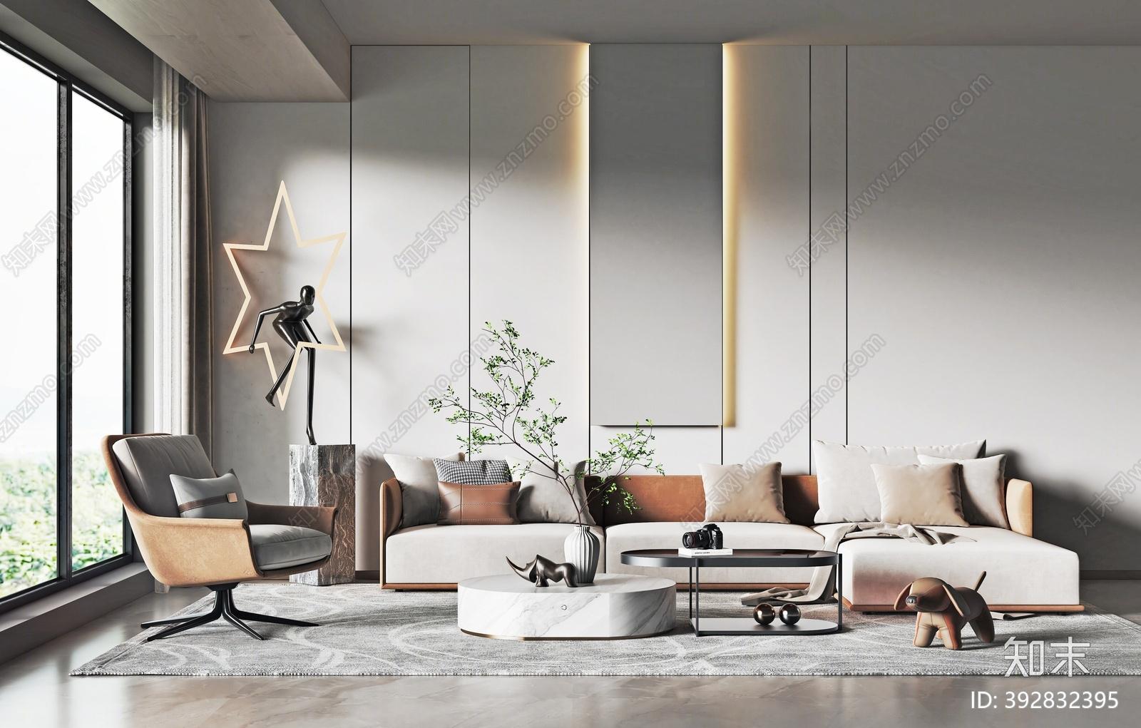 现代沙发茶几组合3D模型下载【ID:392832395】