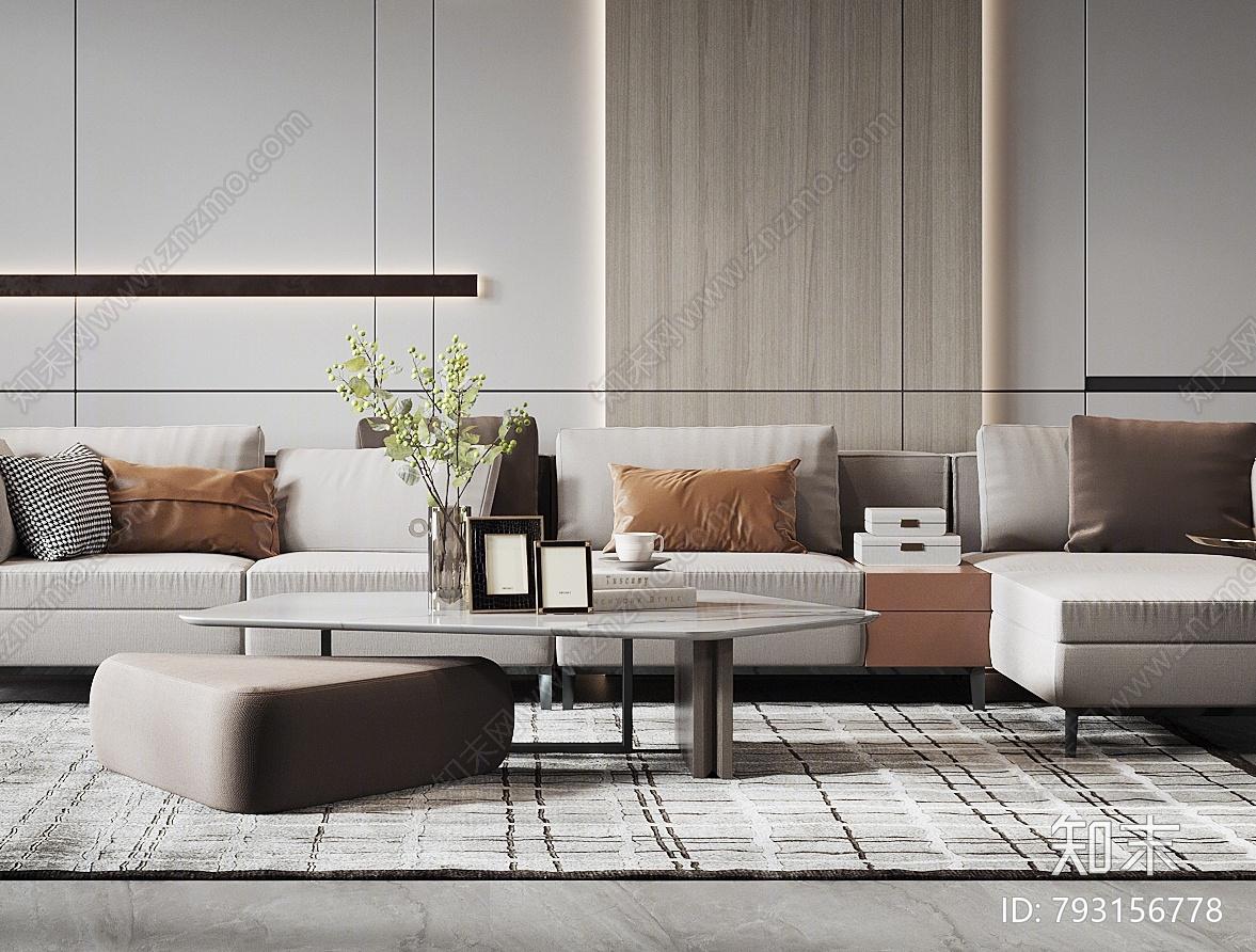 现代家居客厅3D模型下载【ID:793156778】