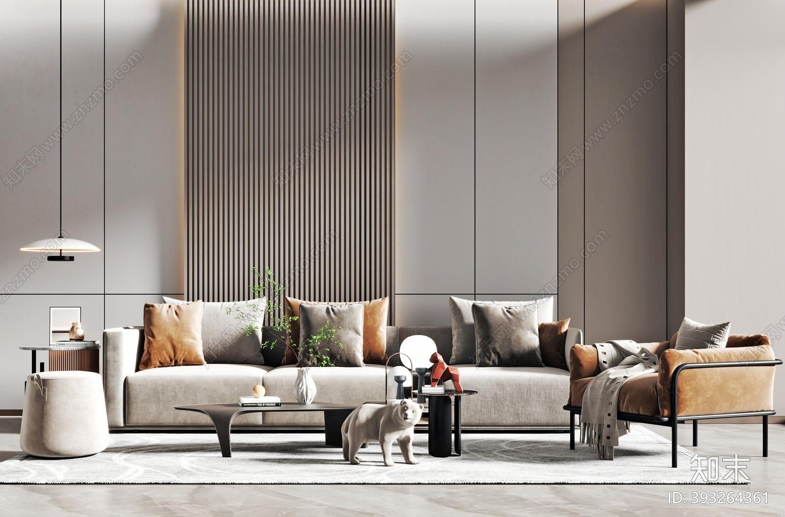 现代沙发茶几组合3D模型下载【ID:393264361】
