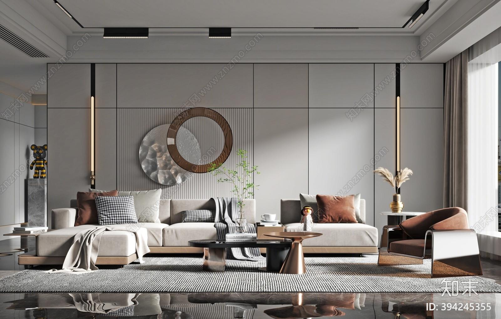 现代沙发茶几组合3D模型下载【ID:394245355】