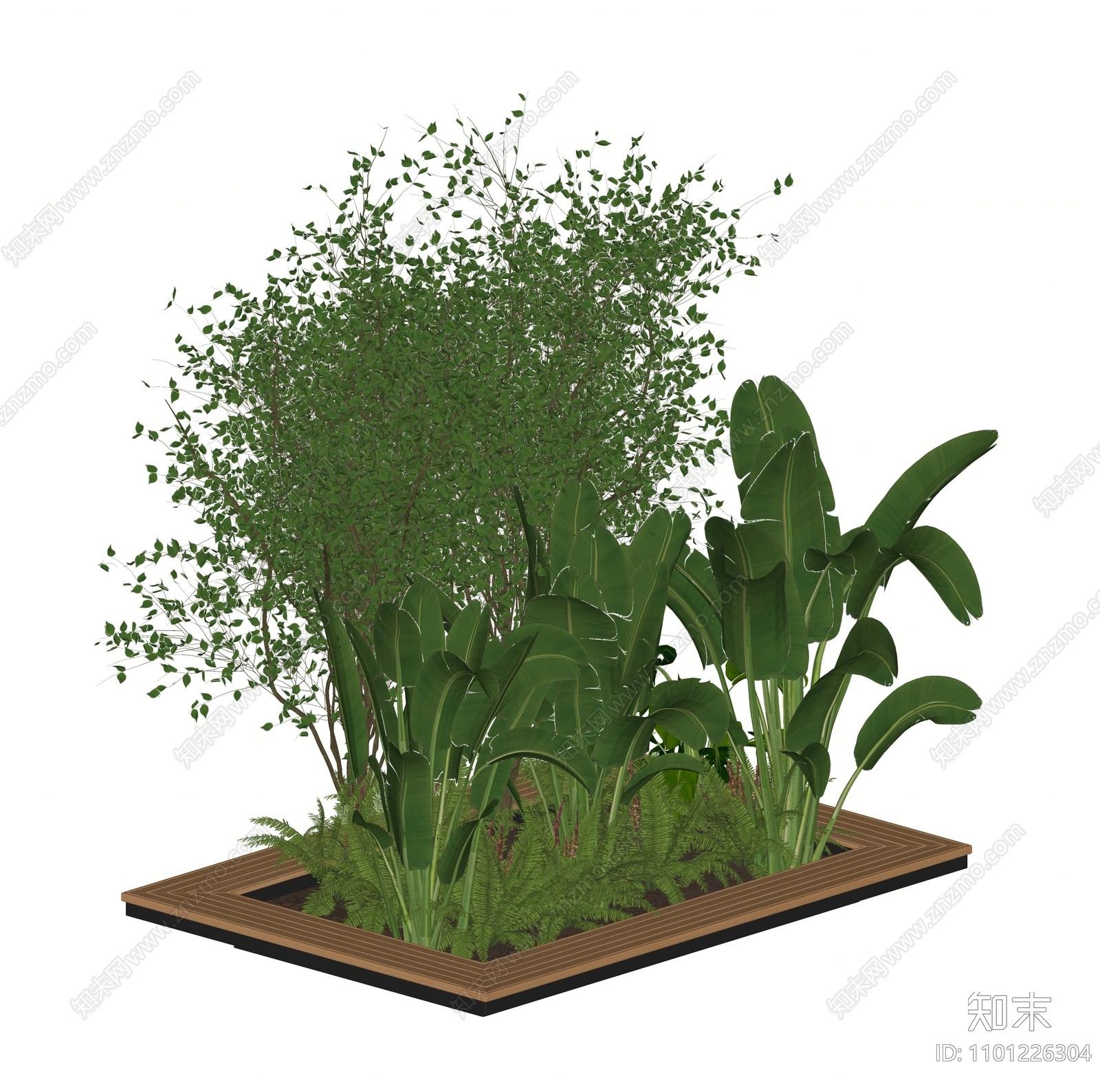 现代植物盆栽SU模型下载【ID:1101226304】