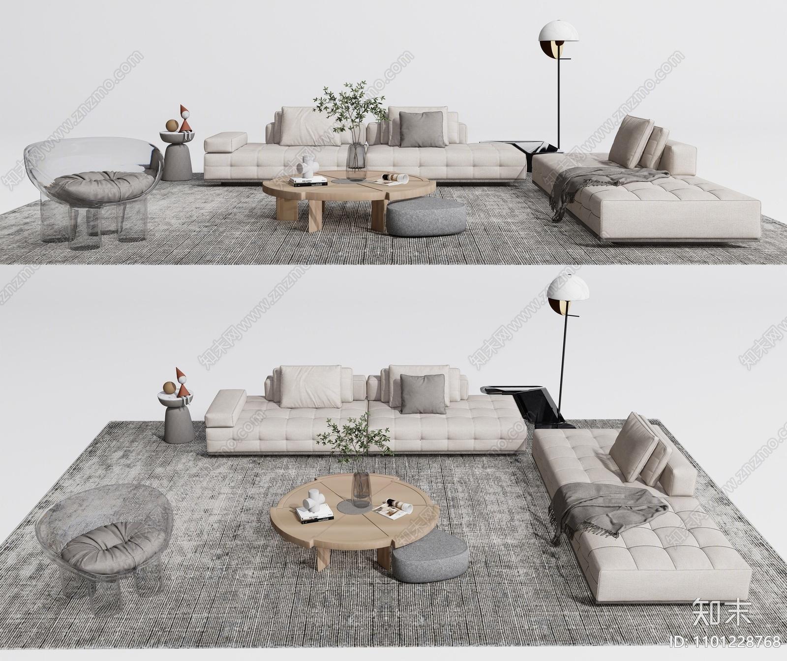 现代沙发茶几组合SU模型下载【ID:1101228768】