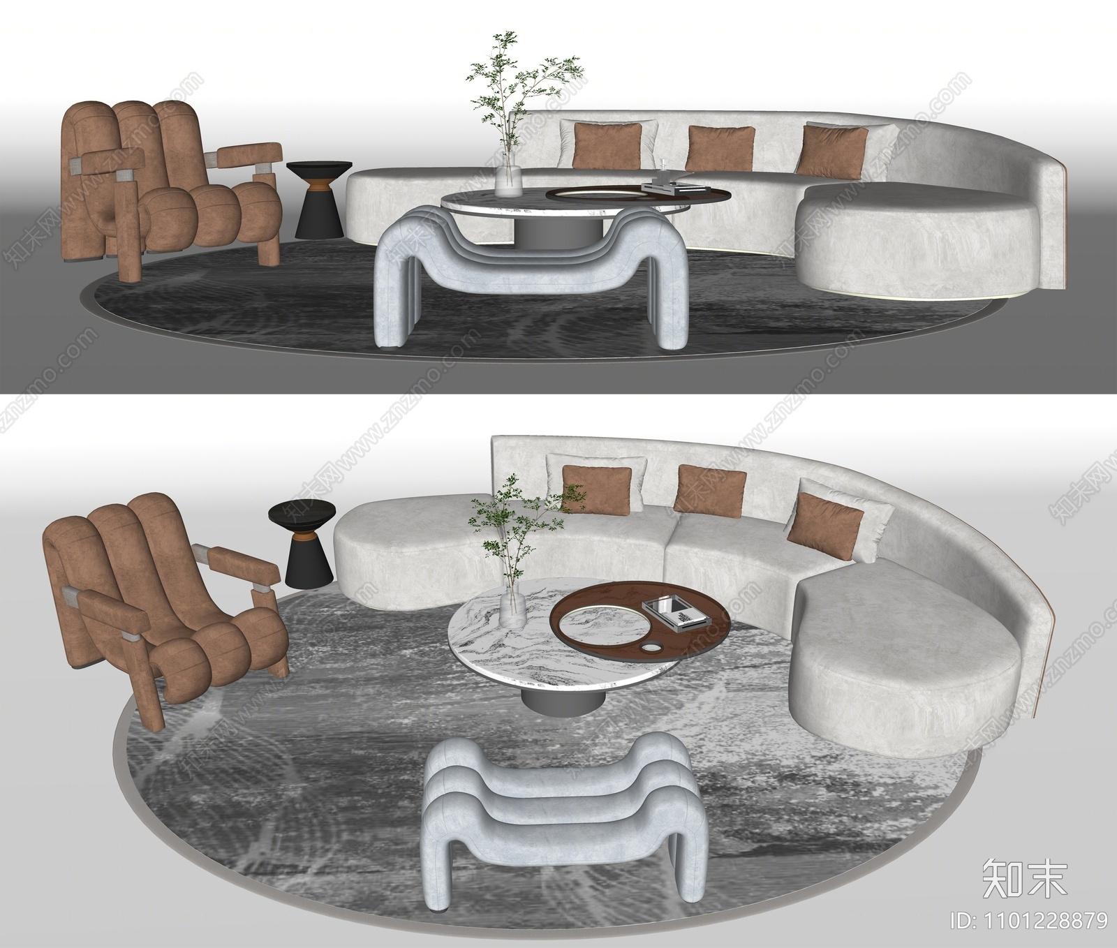现代沙发茶几组合SU模型下载【ID:1101228879】