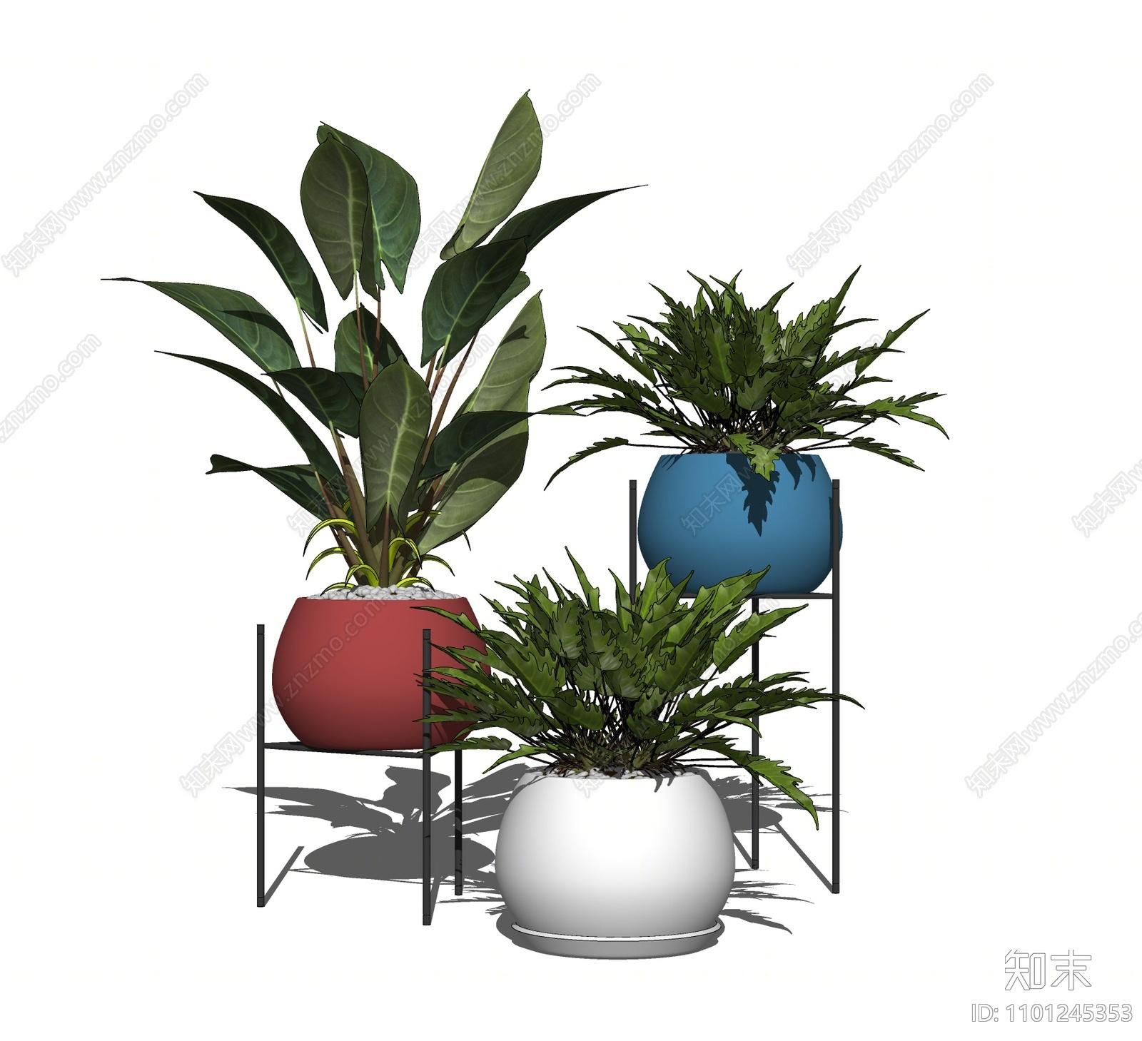 现代植物盆栽组合SU模型下载【ID:1101245353】