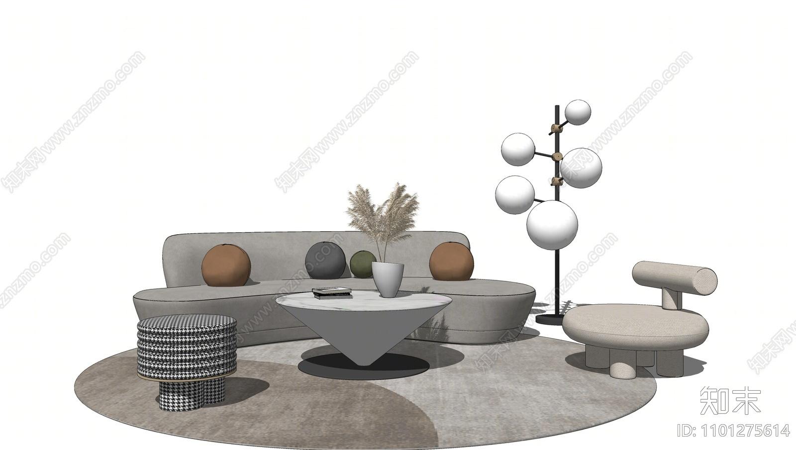 现代沙发茶几组合SU模型下载【ID:1101275614】