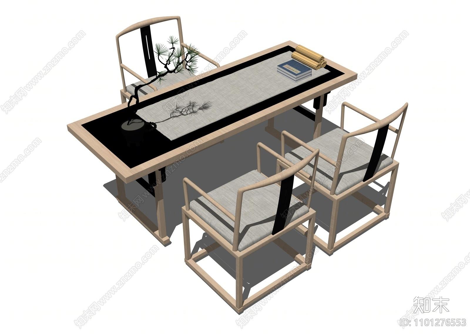 中式餐桌椅SU模型下载【ID:1101276553】