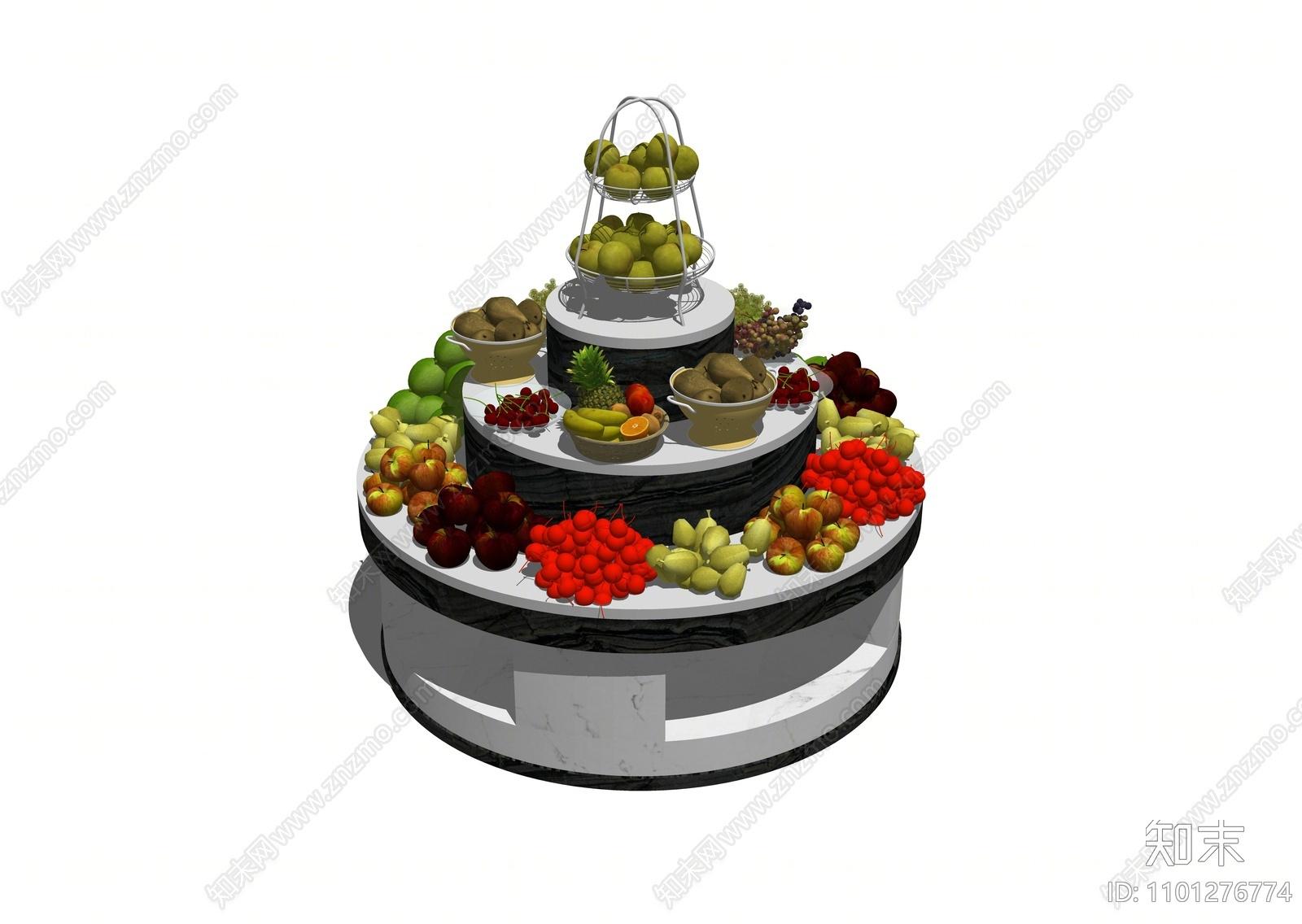 现代水果蔬菜展柜货架SU模型下载【ID:1101276774】
