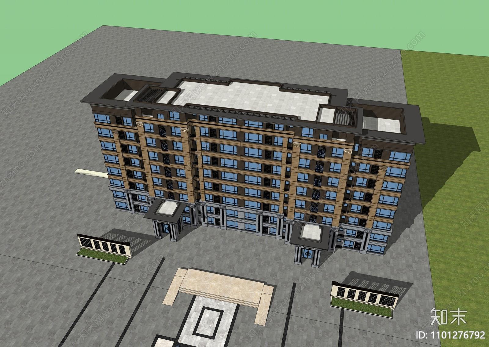 新中式多层住宅SU模型下载【ID:1101276792】
