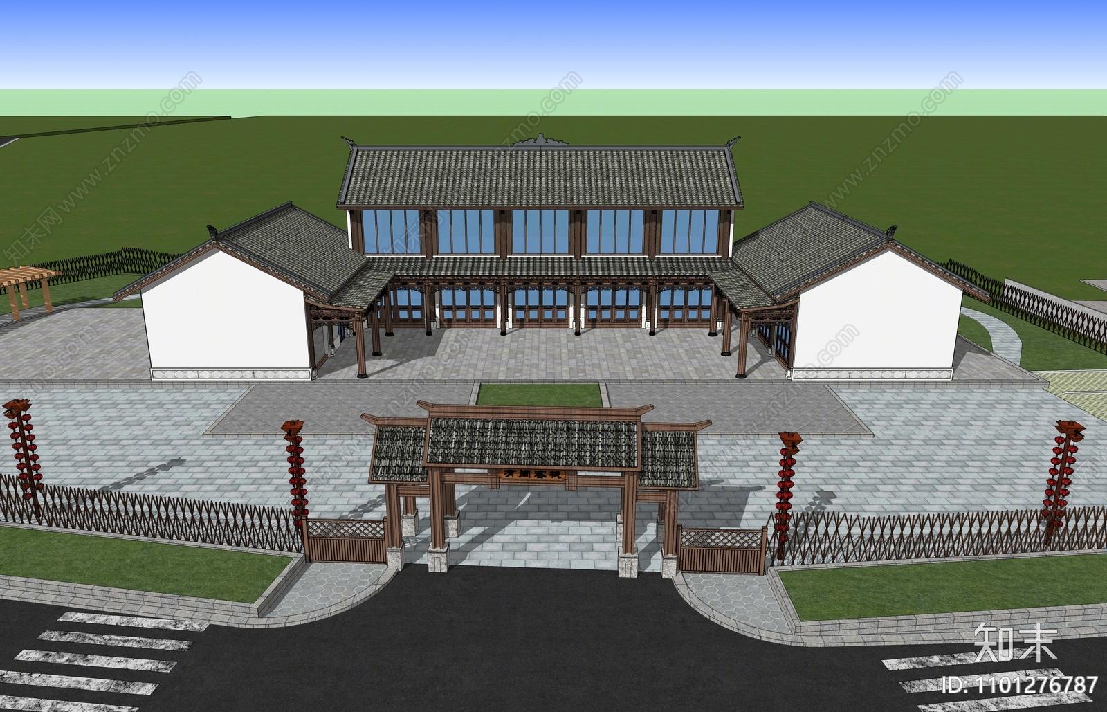 中式民宿建筑SU模型下载【ID:1101276787】