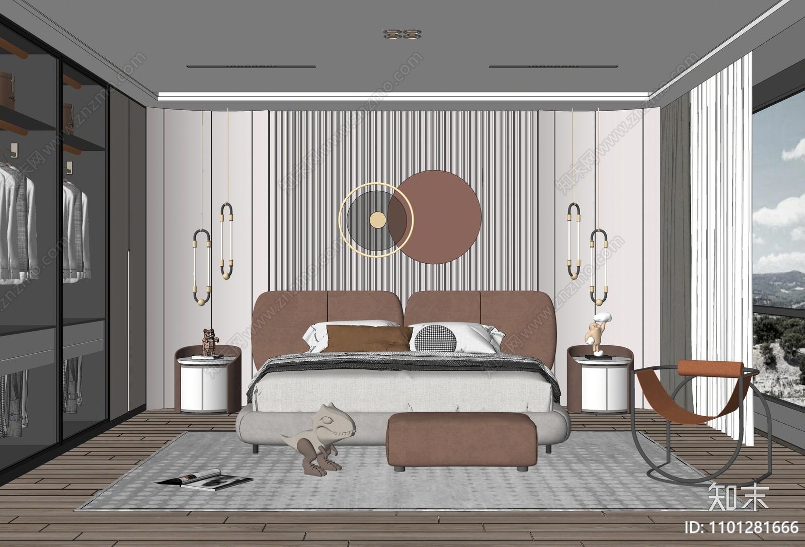 现代卧室SU模型下载【ID:1101281666】