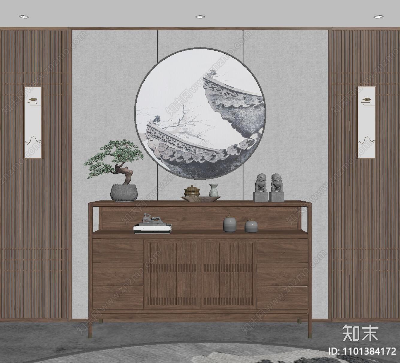 新中式玄关柜SU模型下载【ID:1101384172】