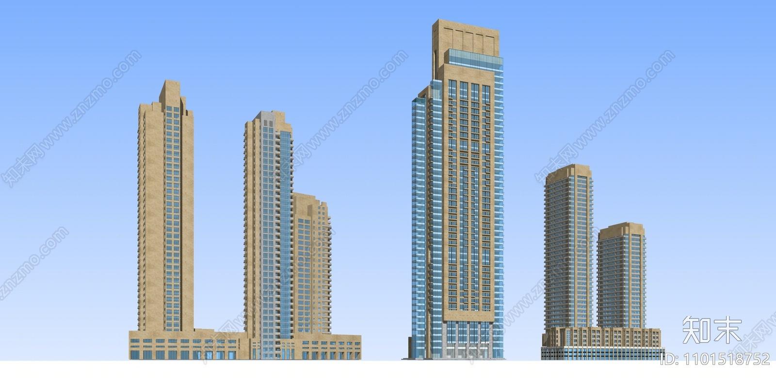 现代写字楼建筑群SU模型下载【ID:1101518752】