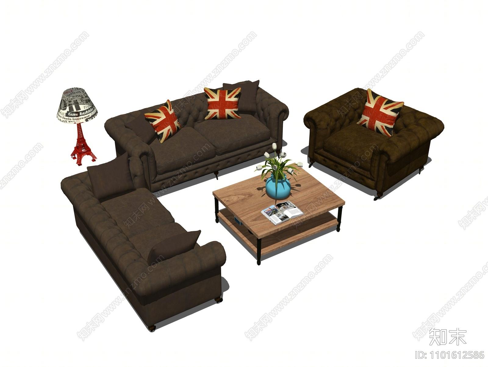 欧式沙发茶几组合SU模型下载【ID:1101612586】