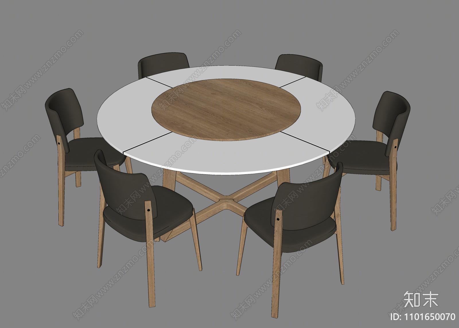 现代餐桌椅SU模型下载【ID:1101650070】
