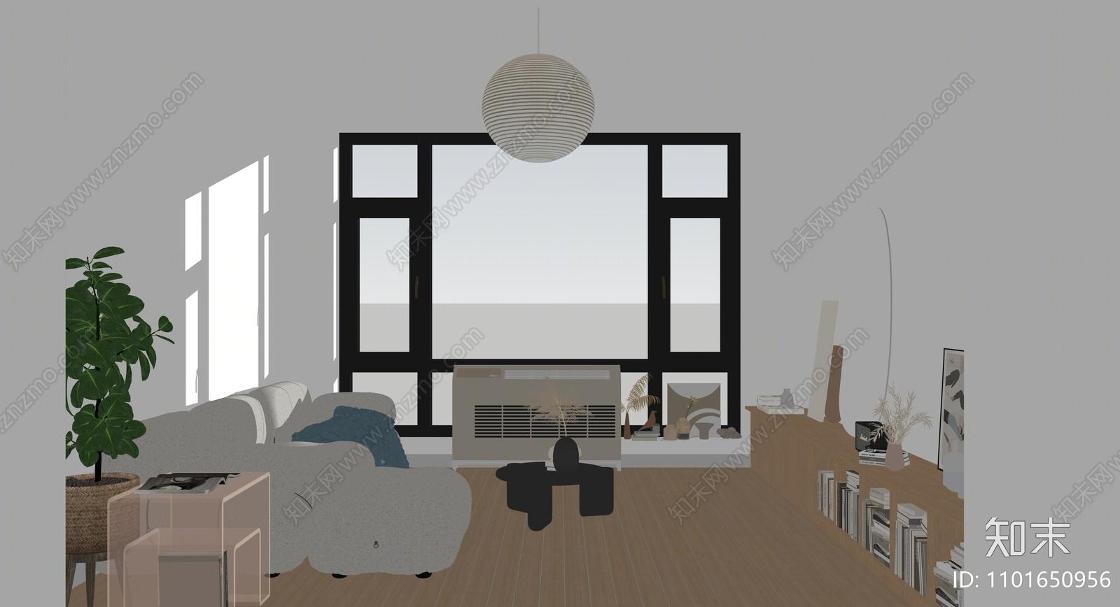 现代家居客厅SU模型下载【ID:1101650956】