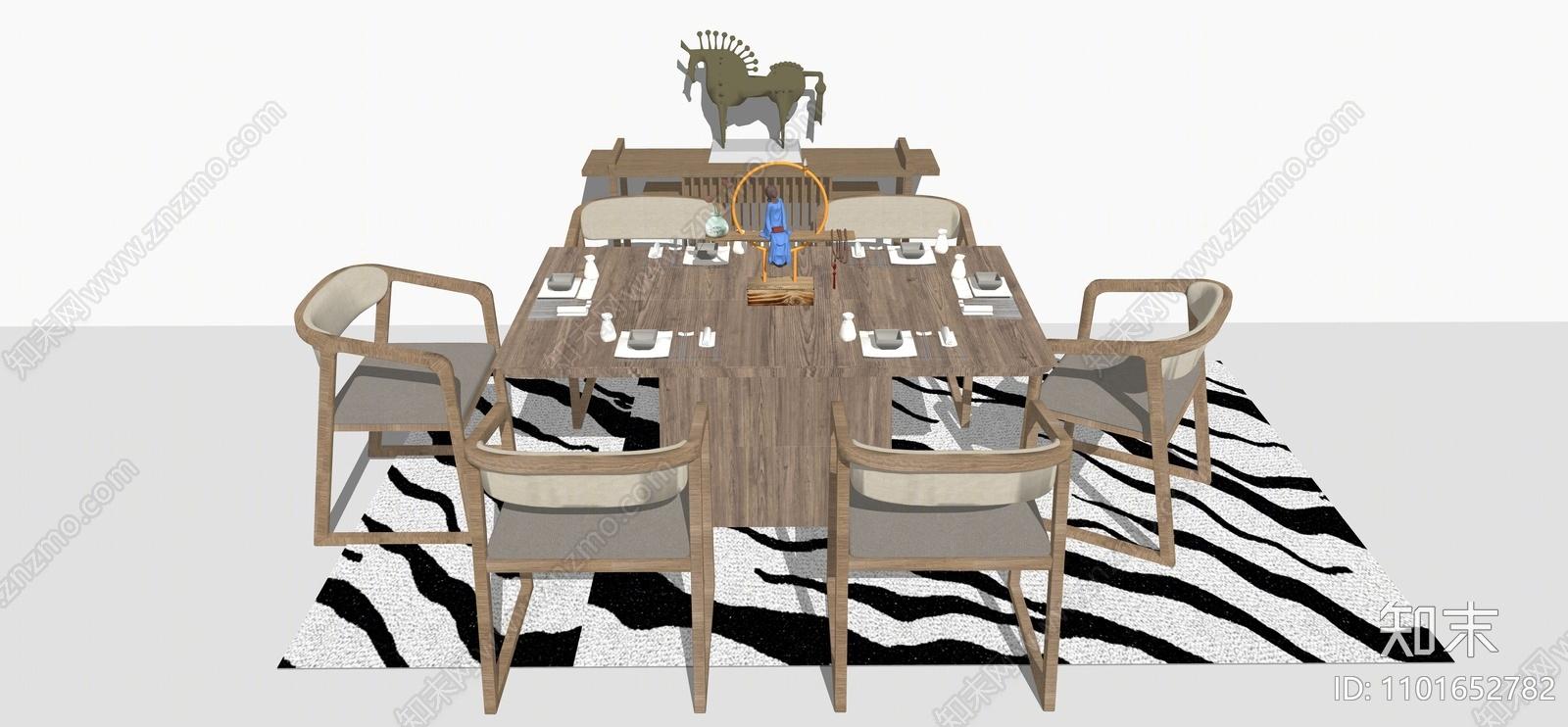 新中式餐桌椅SU模型下载【ID:1101652782】