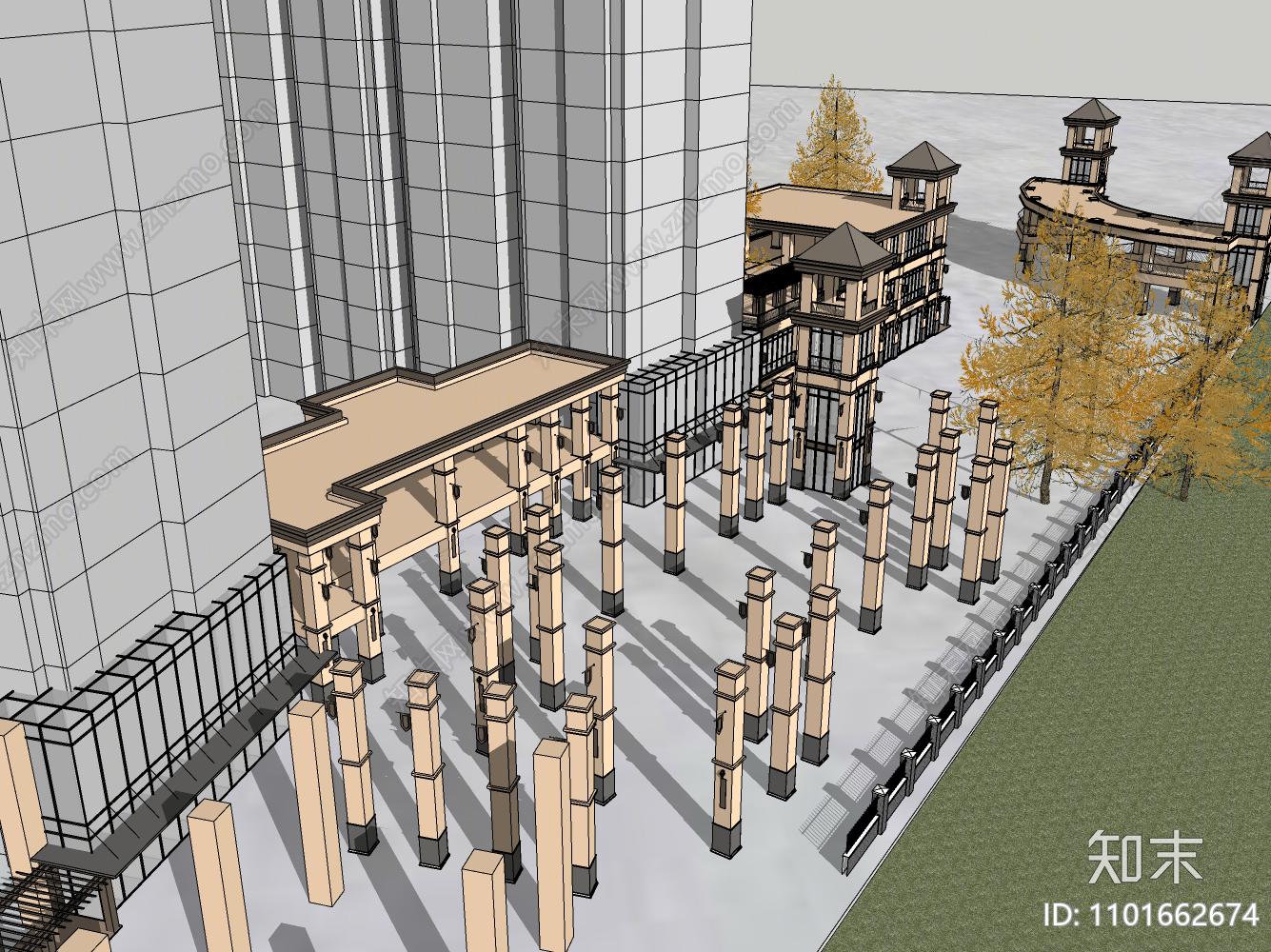 欧式商业街方案SU模型下载【ID:1101662674】