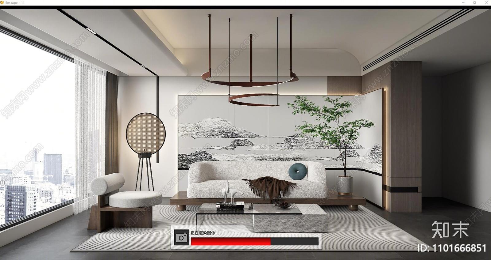 新中式客厅SU模型下载【ID:1101666851】