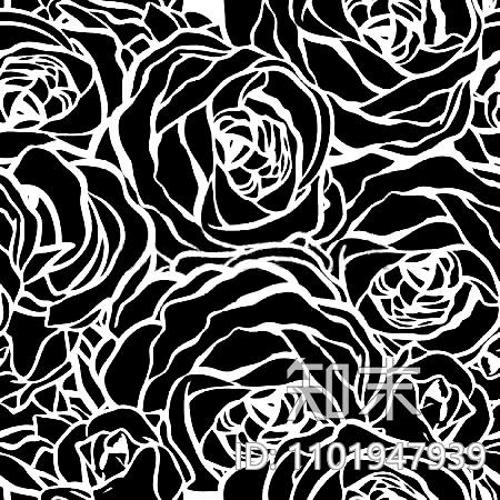 玫瑰花黑白贴图贴图下载【ID:1101947939】