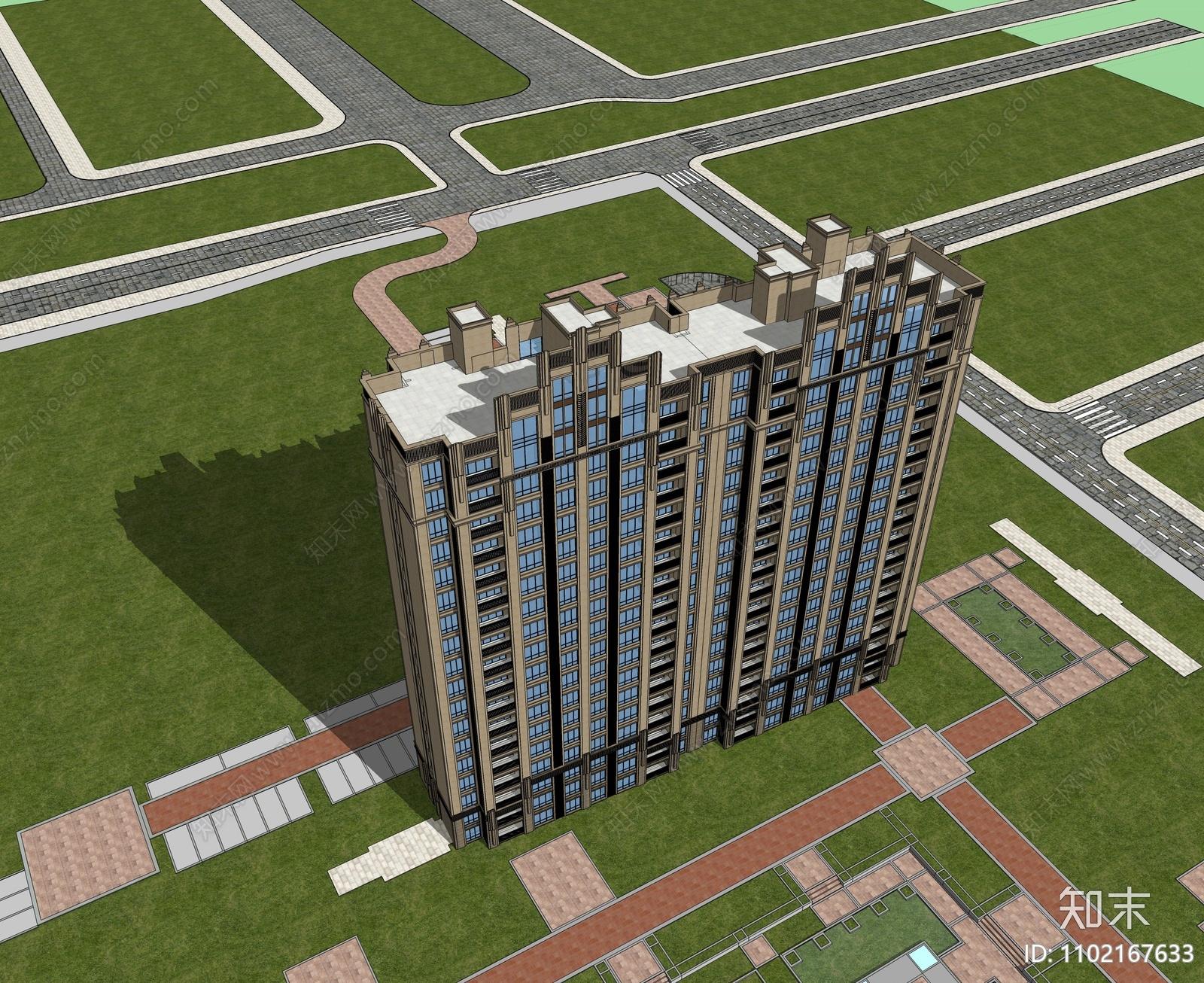 古典高层住宅SU模型下载【ID:1102167633】