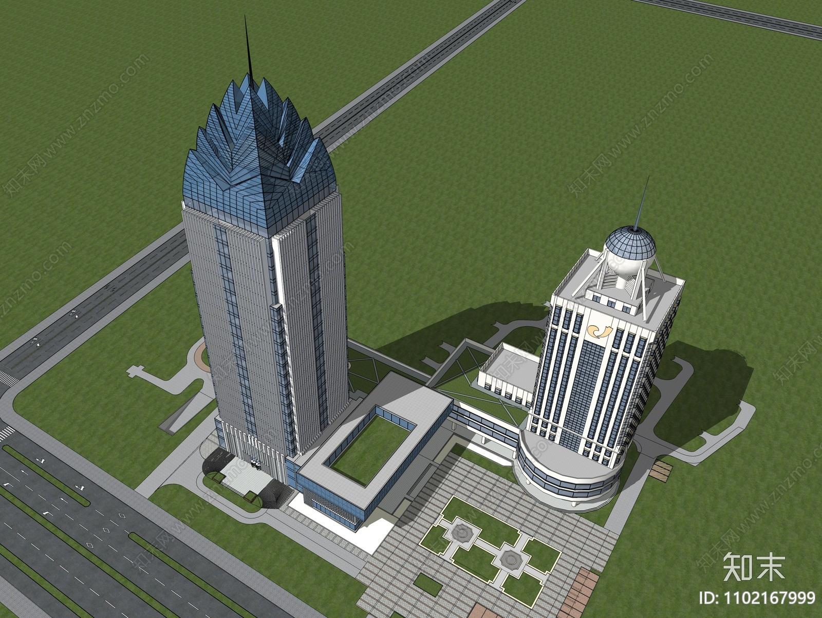 现代酒店建筑SU模型下载【ID:1102167999】