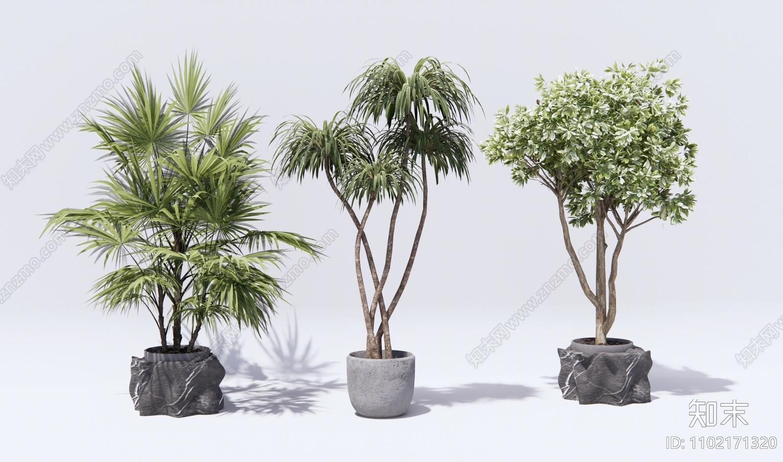 现代绿植盆栽SU模型下载【ID:1102171320】