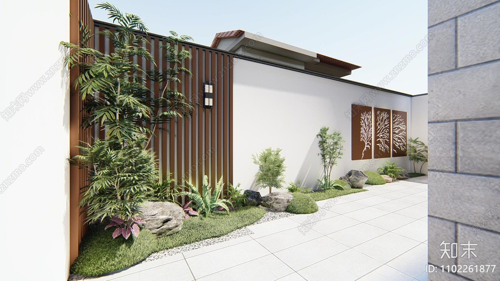 现代庭院花园SU模型下载【ID:1102261877】
