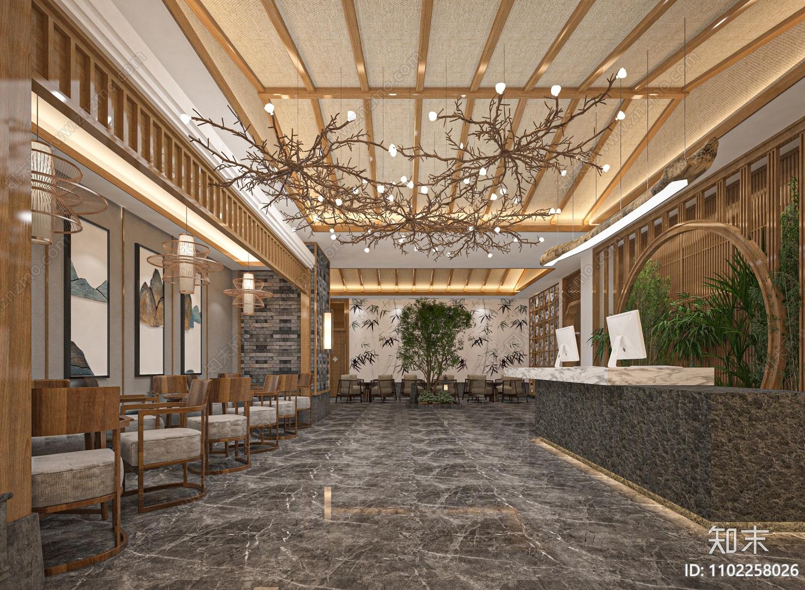 新中式酒店大厅SU模型下载【ID:1102258026】