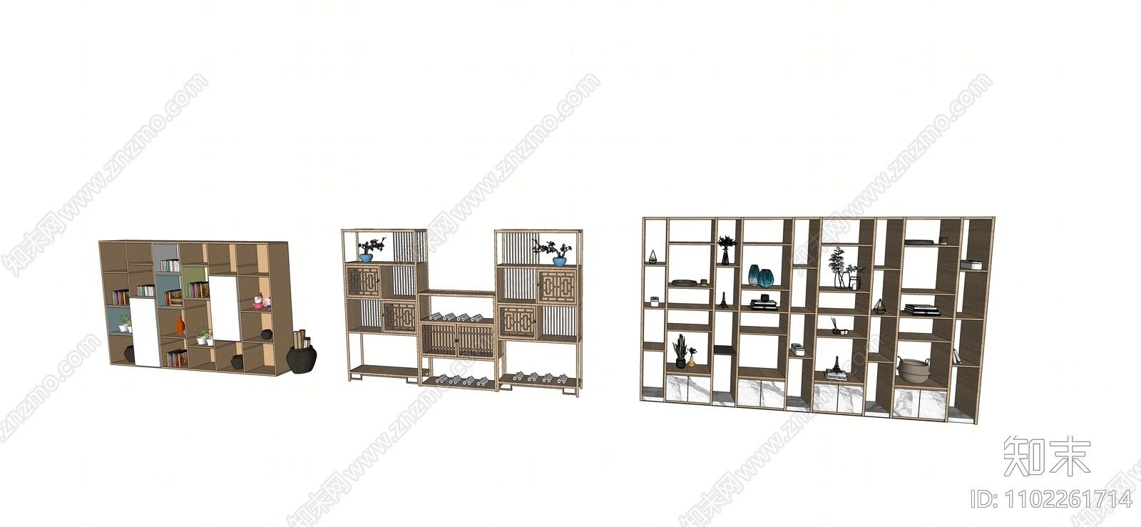 现代装饰柜SU模型下载【ID:1102261714】