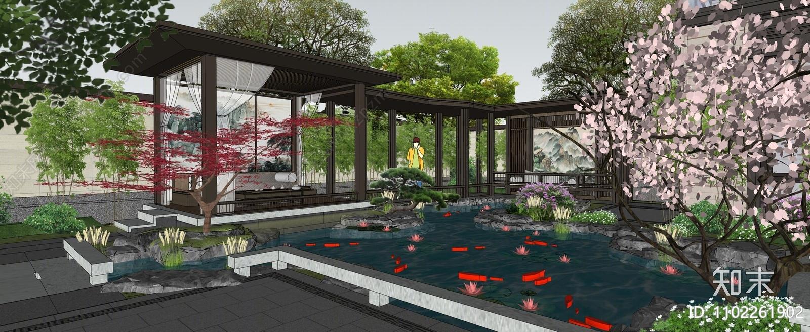 新中式庭院花园SU模型下载【ID:1102261902】