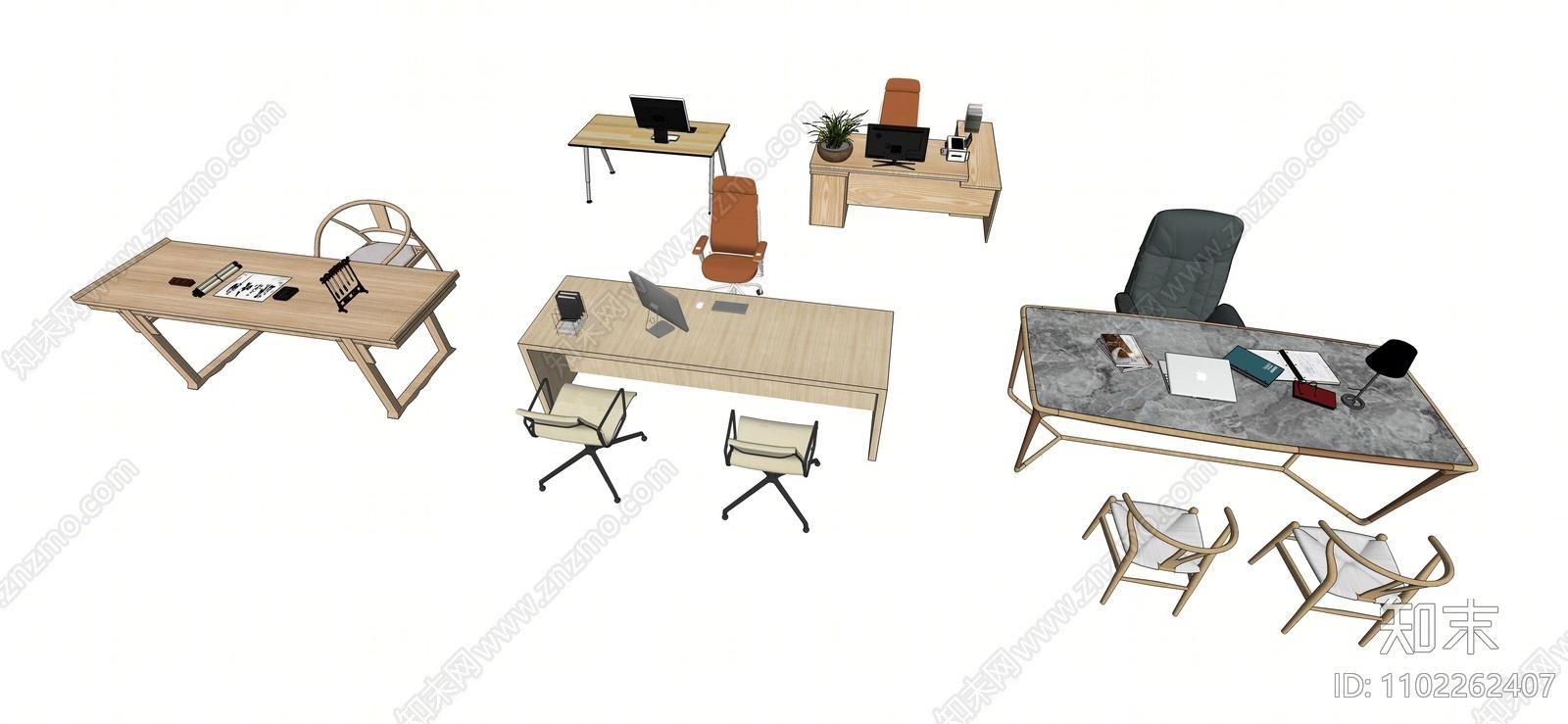 现代办公桌椅SU模型下载【ID:1102262407】