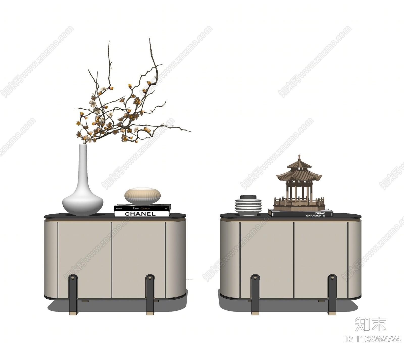 新中式床头柜组合SU模型下载【ID:1102262724】