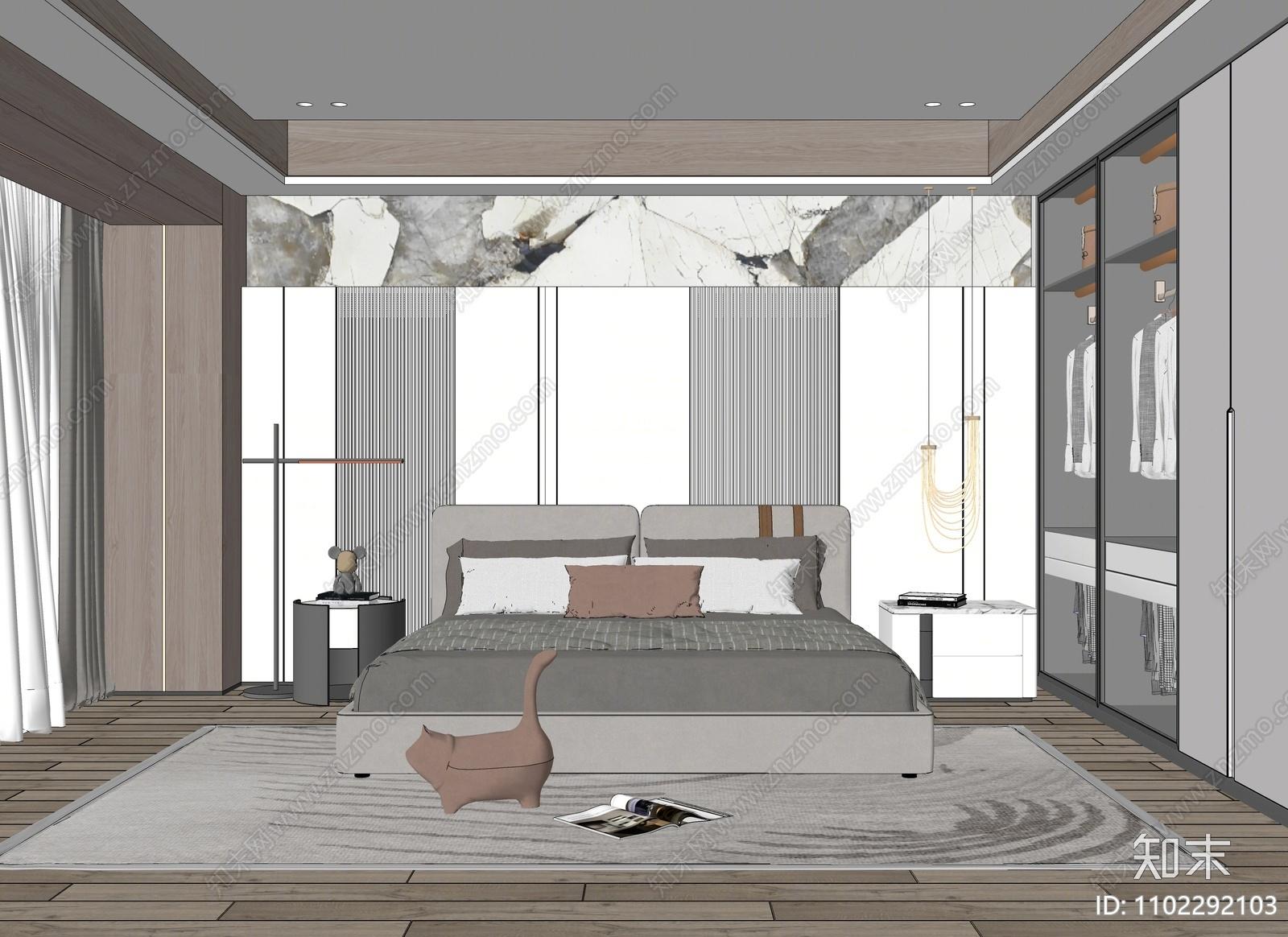 现代卧室SU模型下载【ID:1102292103】