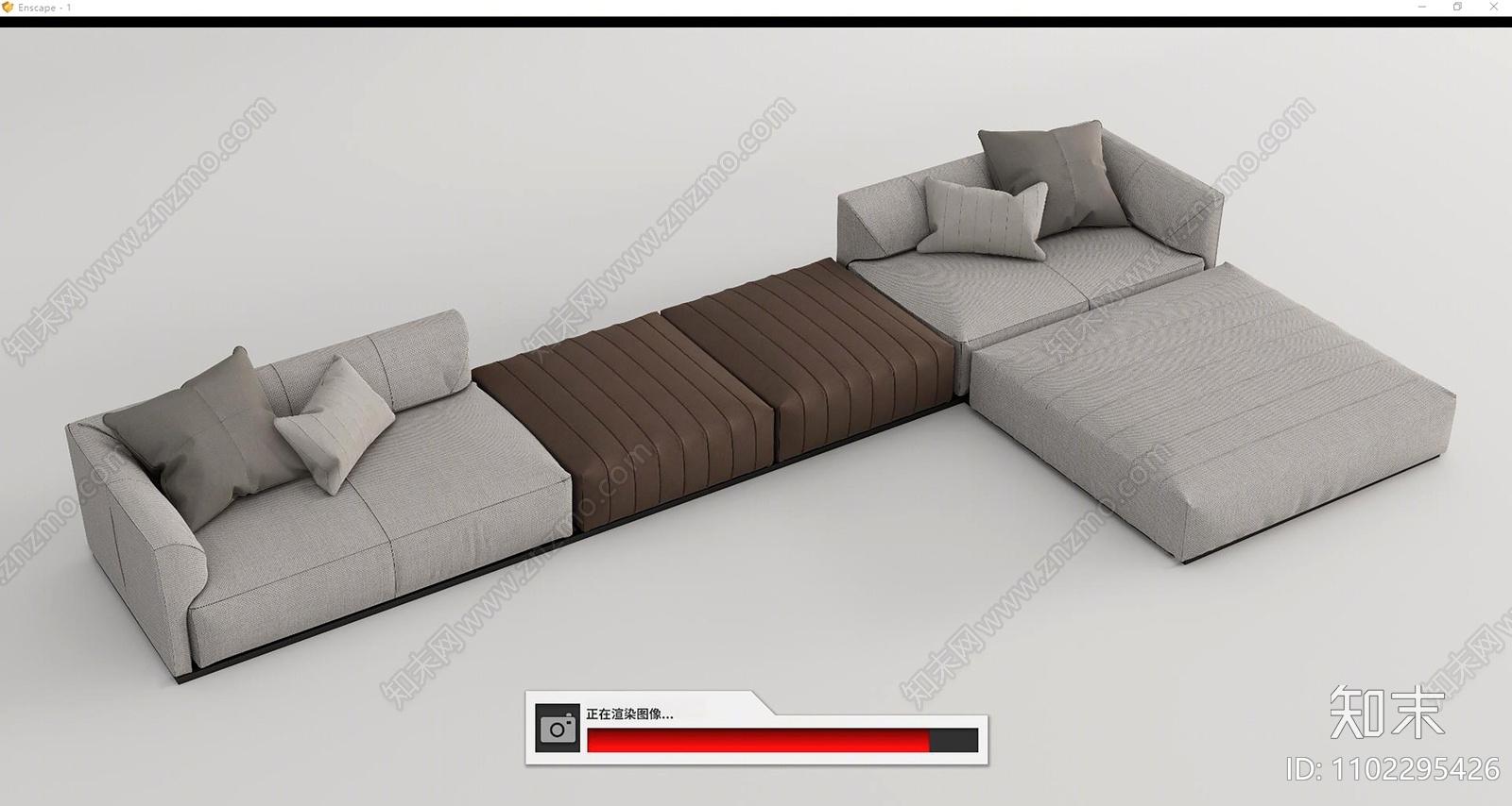 现代多人转角沙发SU模型下载【ID:1102295426】