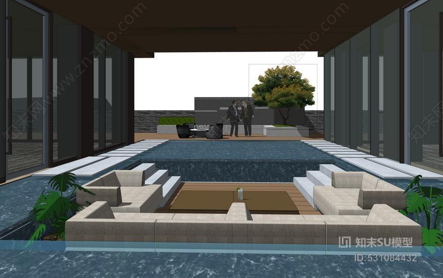 新亚洲住宅小区入口景观SU模型