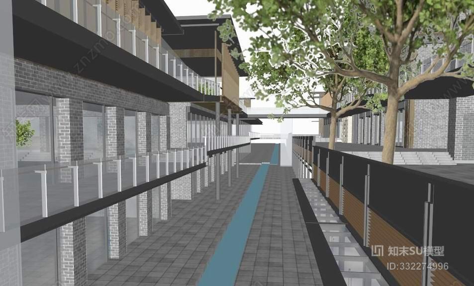 现代中式商业街SU模型