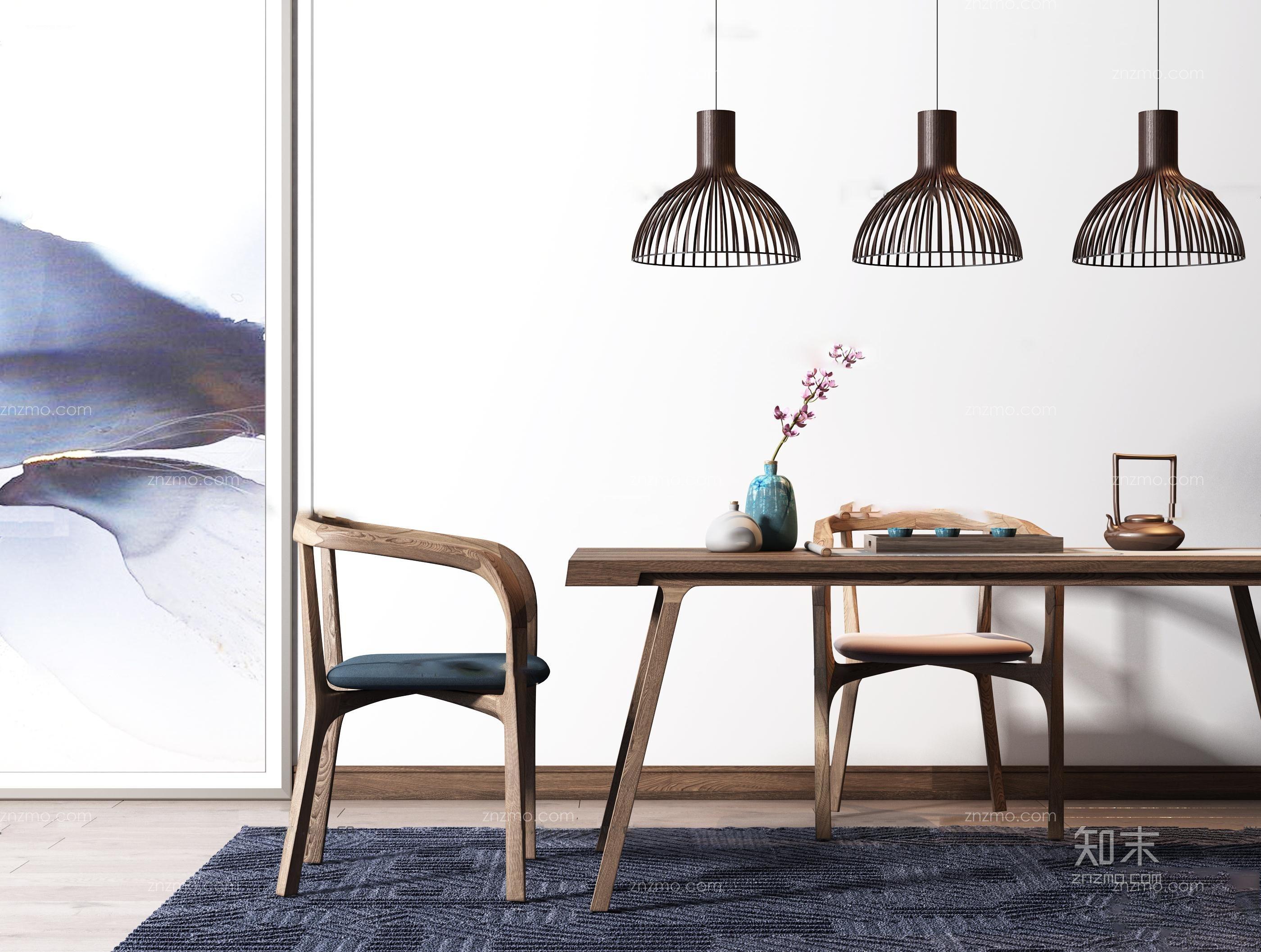 新中式餐桌椅吊灯组合