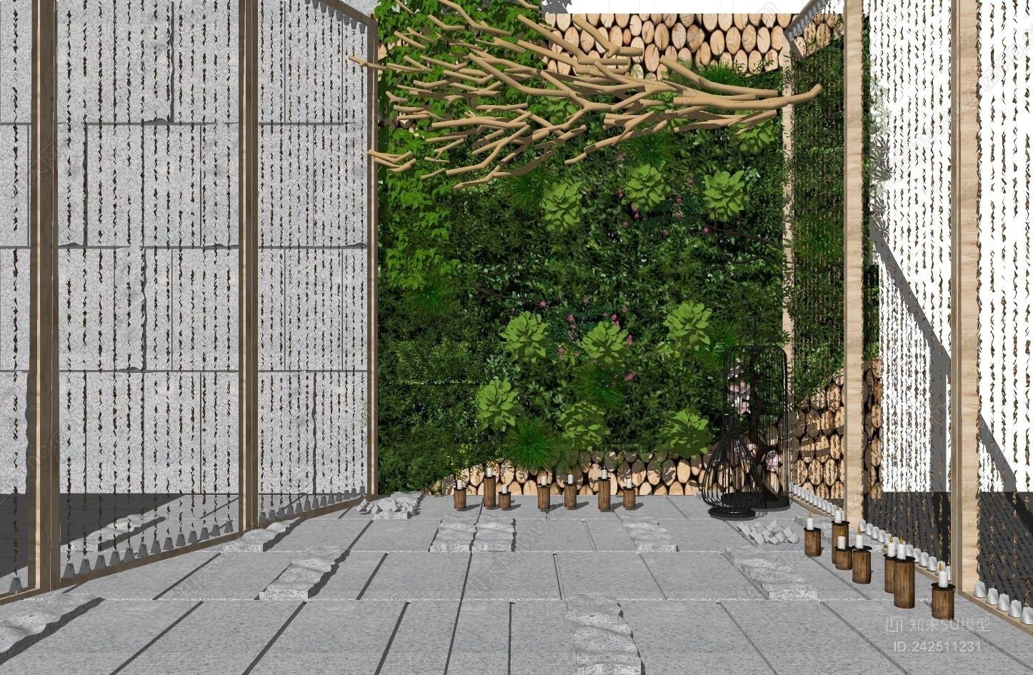 新中式植物 景观墙
