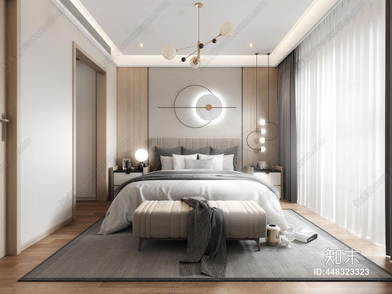 现代轻奢卧室 床床头柜