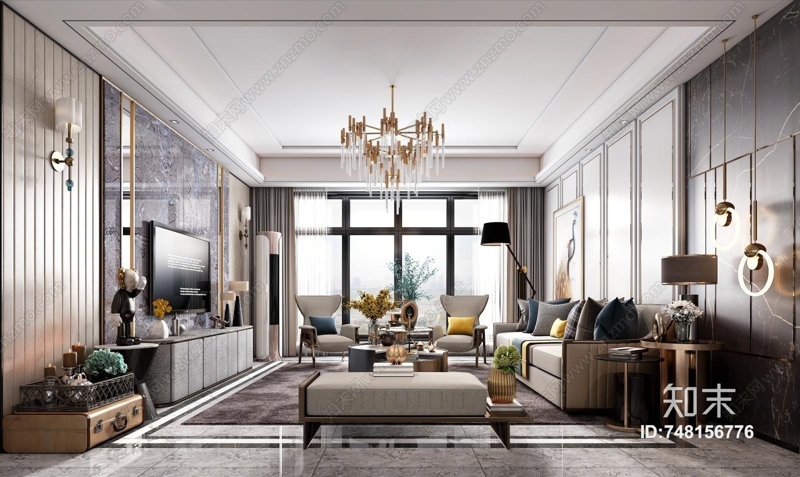 现代客厅 轻奢客厅 组合沙发  餐桌椅 软装 家具