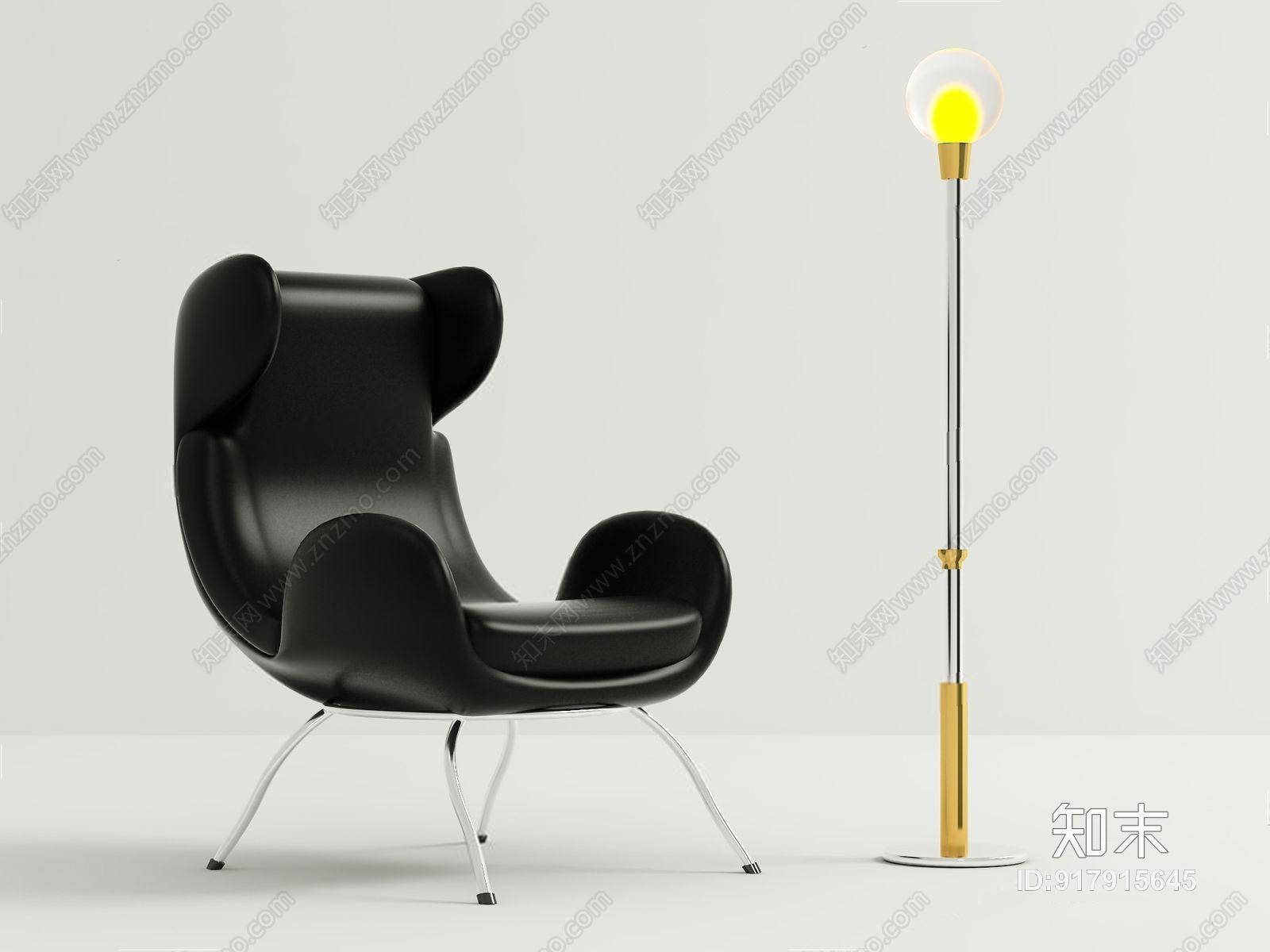 北欧单人沙发 北欧单人沙发 落地灯 皮质沙发