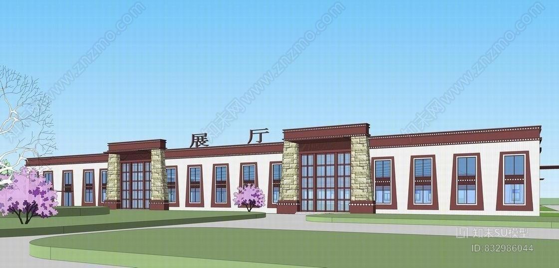 西藏风格厂房立面SU模型